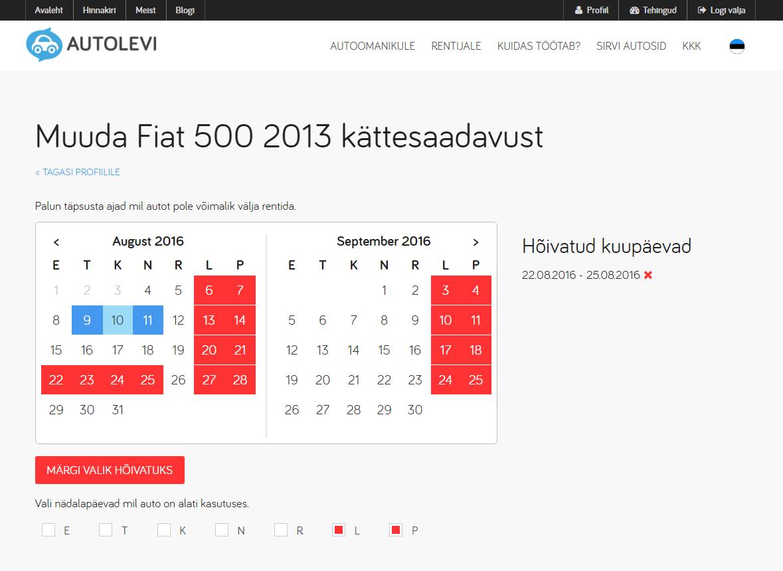 Autolevi car rental calendar